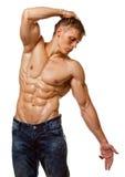 Muscle o levantamento despido molhado 'sexy' do homem novo Fotografia de Stock