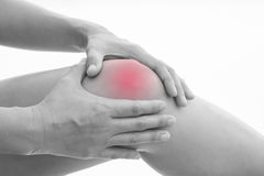 Muscle pain. Front view of a young women knee muscle pain. Red around the pain area Royalty Free Stock Image