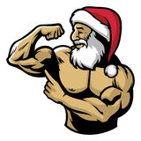 Muscle Santa claus show his body Stock Image
