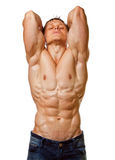 Muscle sexy wet naked young man posing Stock Photo