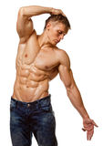 Muscle sexy wet naked young man posing Stock Photography