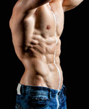 Muscle sexy young man torso perfused milk Stock Photo