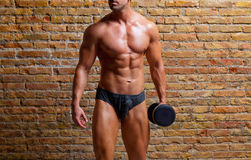 Muscle shaped underwear man with weight on gym. Brickwall Stock Images