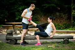 Muscle spasm - after sport training Royalty Free Stock Images