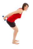 Muscle training. A young woman on the floor exercise royalty free stock photography