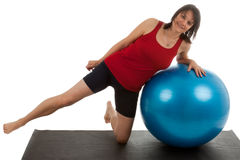 Muscle training. A young woman with a large exercise ball Stock Image