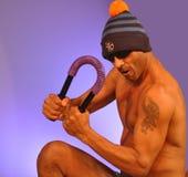 Muscle training male foto model. In underwear with bobble hat Stock Photo