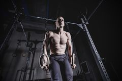 Muscle-up Exercise Man Doing Cross Fit Workout. royalty free stock photos
