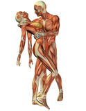Muscle woman and man standing Stock Photo