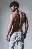 Muscled back of a fit man Stock Image