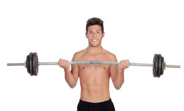 Muscled guy lifting weights Royalty Free Stock Photo