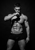 Muscled male model Konstantin Kamynin. Muscled male model in studio Royalty Free Stock Photo