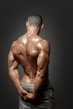 Muscled male model showing his back. Bodybuilder showing his back and biceps muscles, personal fitness trainer. Strong man flexing his muscles Royalty Free Stock Photography
