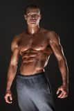 Muscled male model in studio Stock Photos