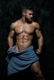 Muscled Male Model Wearing Towel Stock Photography