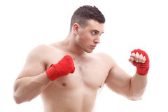 Muscled man doing exercises Royalty Free Stock Photography