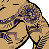 Muscled Man with Polynesian Tattoo Stock Image