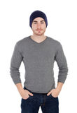Muscled man with wool hat Royalty Free Stock Photography
