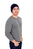 Muscled man with wool hat Stock Images