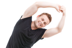 Muscled man during workout Royalty Free Stock Photos