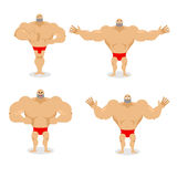 Muscled set poses. Expression of emotions athlete. Evil and good Stock Photo