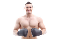 Muscled sportsman training Stock Photo