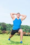 Muscled sportsman during training Stock Photography