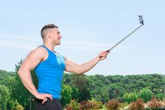 Muscled sportsman during training Royalty Free Stock Images