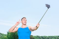 Muscled sportsman during training Royalty Free Stock Image