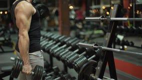 Muscleman die zware domoren alternatief in de gymnastiek, het bodybuilding opheffen stock videobeelden