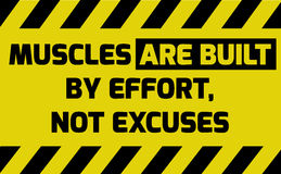 Muscles are built by effort sign. Yellow with stripes, road sign variation. Bright vivid sign with warning message Royalty Free Stock Photos