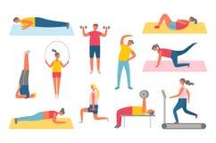 Muscles de pompage ou étirage, vecteur de mode de vie illustration stock