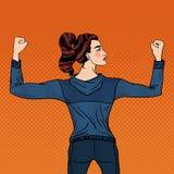 Muscoli di Art Confident Athletic Woman Showing di schiocco Fotografia Stock