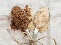 Muscovado and demerara organic brown sugar Royalty Free Stock Photography