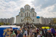 Muscovites visit church on the eve of a religious holiday of orthodox Easter royalty free stock image