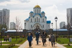 Muscovites visit church on the eve of a religious holiday of orthodox Easter stock images