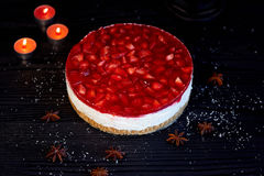Muscovy curd cheesecake without baking.300 grams of cheese hidden in a gentle cream based cake crushed cookies,top with Stock Photos