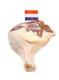 Muscovy ducks leg with French flag. Isolated Royalty Free Stock Photography