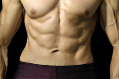 Muscular abs and torso. Closeup of muscular abs and torso of male athlete Royalty Free Stock Images