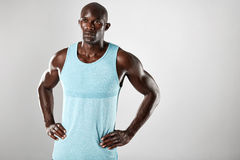 Muscular african male model looking away stock image