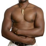 Muscular african man with scarification Stock Photos