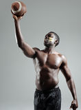 Muscular american football player Stock Photos