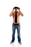 Muscular architect with binocular Stock Photo
