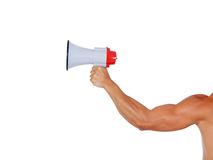 Muscular arm with a megaphone Stock Images