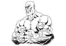 Muscular arms. Bodybuilder with muscular arms, clenched in fists Royalty Free Stock Photography
