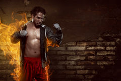 Muscular asian boxer man with sportswear Stock Images