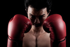Muscular Asian man with red boxing glove Royalty Free Stock Image