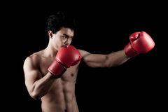 Muscular Asian man with red boxing glove Stock Images