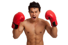 Muscular Asian man with red boxing glove Stock Photography