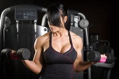 Muscular asian woman working out with weights Stock Photos
